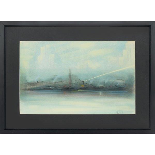 "625: Leon Louie Dolice, ""New York Harbor Scene,"" pastel"
