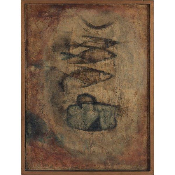 "715: Artist Unknown,  ""Fish,"" c. 1950, oil on canvas"