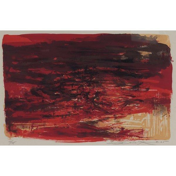 """831: Zao Wou-Ki,  """"LXIV,"""" 1965, lithograph"""