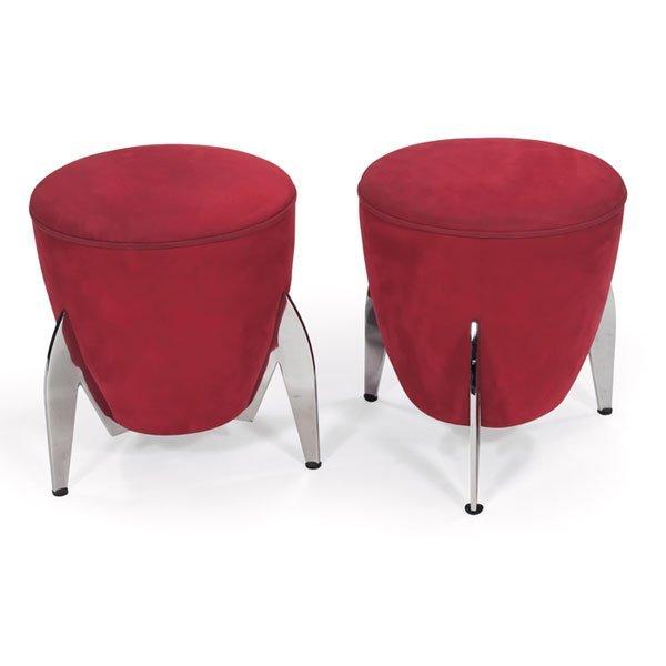 972: 1980s stools, pair, heavy polished metal rocket sh