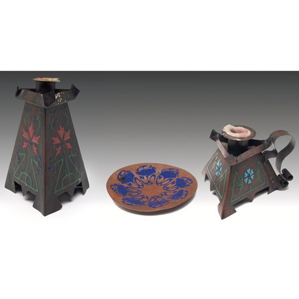 7: The Art Crafts Shop chamber sticks and plate, copper