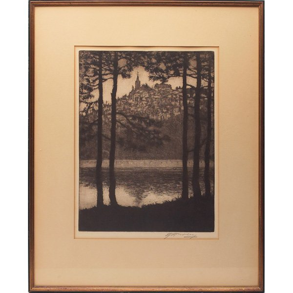 """15: E.T. Hurley etching, """"View of Mt. Adams from Kentuc"""