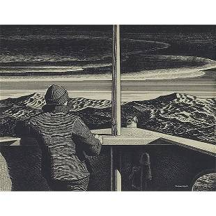 """644: Rockwell Kent """"Bow Lookout,"""" c. 1930, ink on paper"""