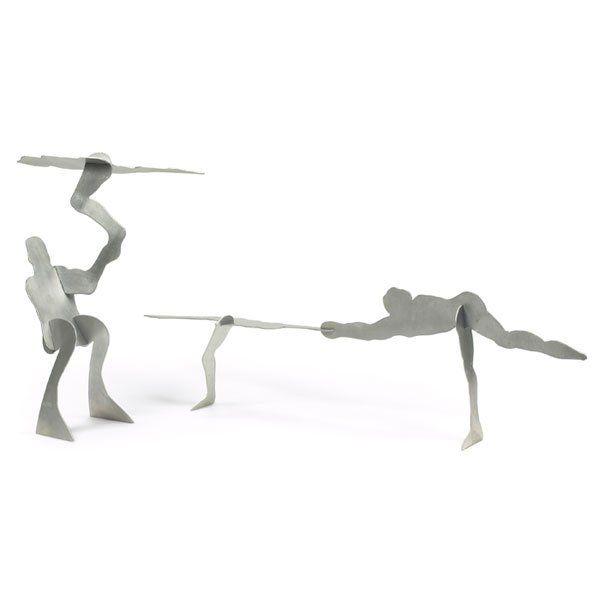 """663: William King """"Untitled,"""" c. 1970, pair of alumin"""