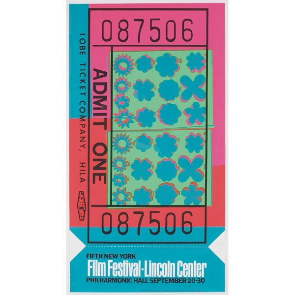 """768: Andy Warhol""""Lincoln Center Ticket,"""" 1967, silkscre"""