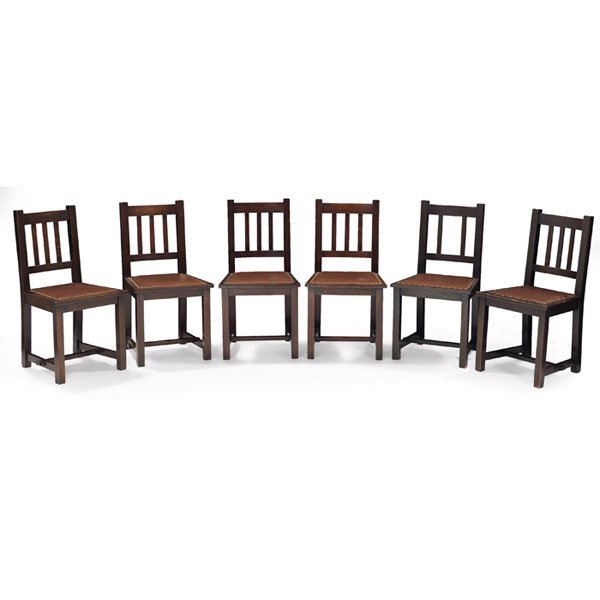 7: Stickley Brothers dining chairs, six, leather