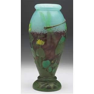 486: Daum vase, internal decoration, cut & enameled des