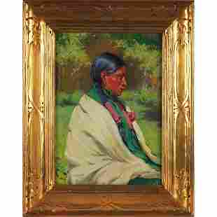 "611: Joseph Henry Sharp, ""Big Eagle, Taos,"" c. 1914, oi"