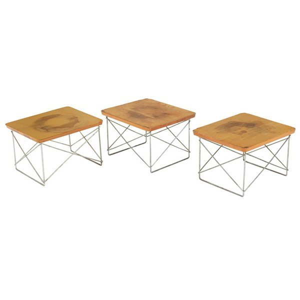 758: Charles & Ray Eames LTR tables, three stained tops