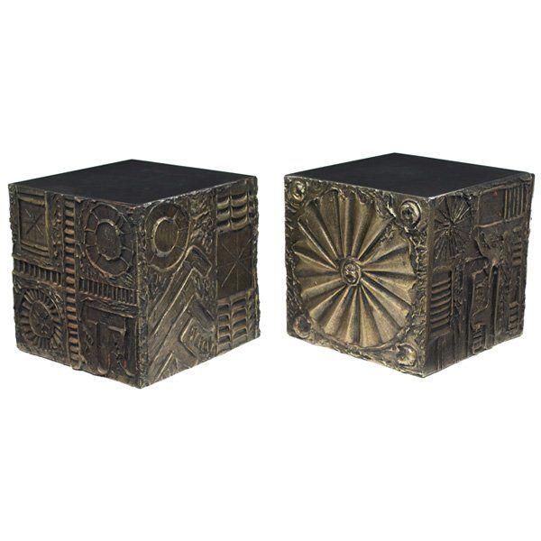 Paul Evans style cube tables, pair, sculpted bronze