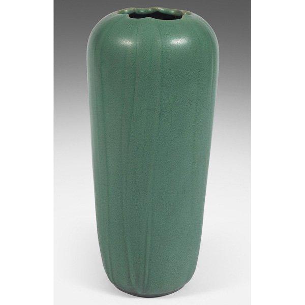 Teco vase green matte glaze Blanche Ostertag #107