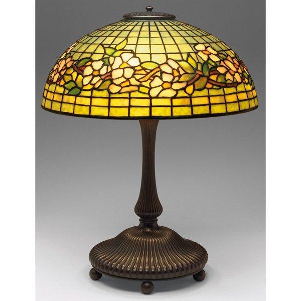 Tiffany Studios table lamp three-arm ribbed bronze base