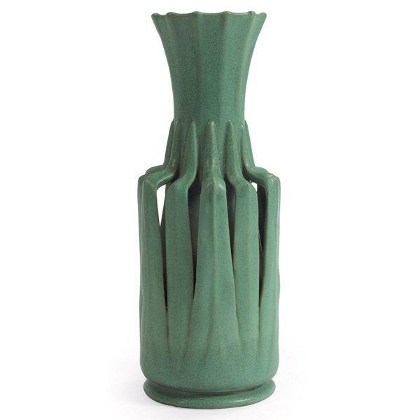 Teco vase #85 green matte glaze