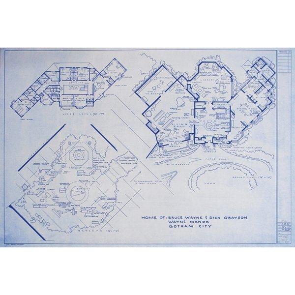 Mark Bennett lithograph, Bruce Wayne Manor