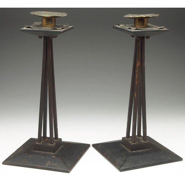 Charles Rohlfs candlesticks copper