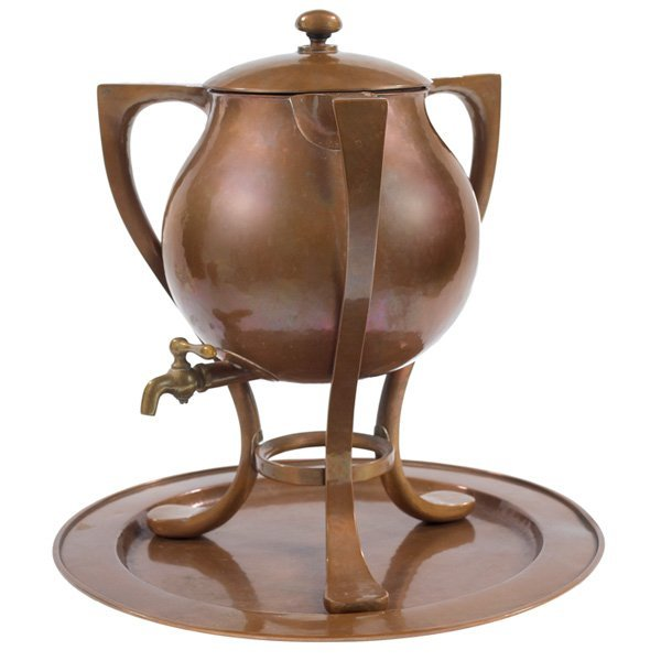 Kalo samovar and tray copper and brass silver-lined