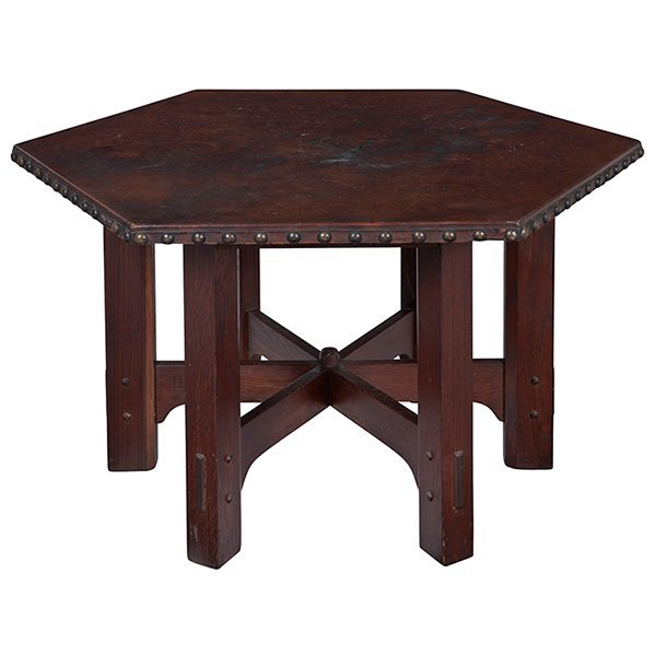 Gustav Stickley, hexagonal table, #625