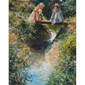 Diane Flynn, (British, b. 1939), Girls on a Bridge