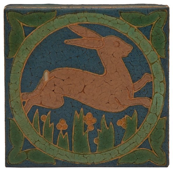 "Grueby Faience Company Rabbit tile 6""sq"