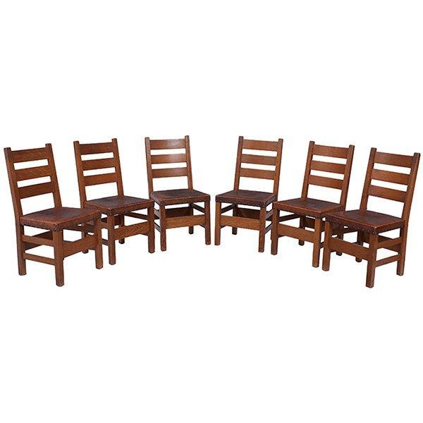 Gustav Stickley three rung ladder-back side chairs,