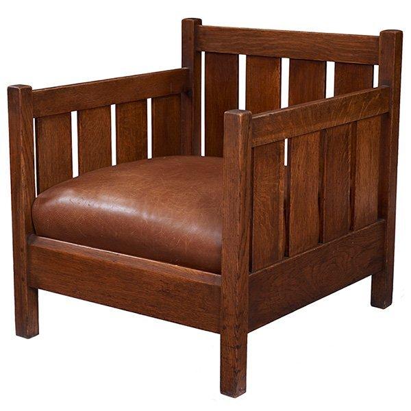 """L & JG Stickley cube chair, #428 27.75""""w x 29.75""""d x"""