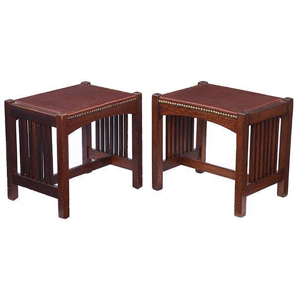 "L & JG Stickley spindle footstools, #1292, pair 18""w x"