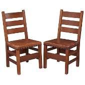 Gustav Stickley three rung ladderback side chairs
