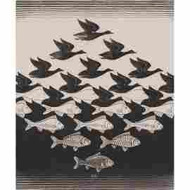 M.C. Escher, (Dutch, 1898-1972), Sky and Water I, 1938,