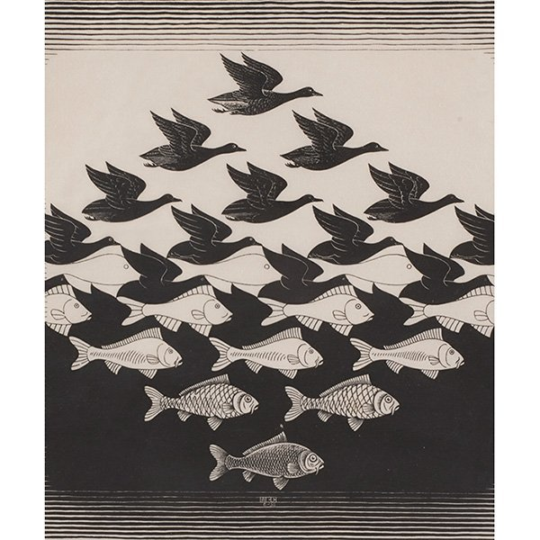 M.C. Escher, (Dutch, 1898-1972), Sky and Water I, 1938,