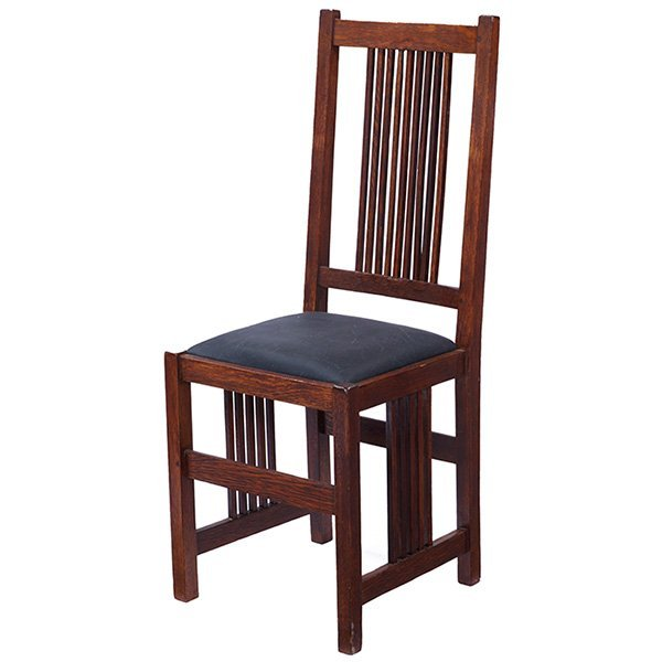 "Gustav Stickley Spindle side chair, #378 16.5""w x 15""d"