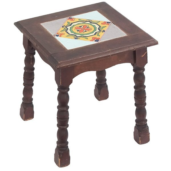 "Arts & Crafts tile inset occasional table 14.5""w x"