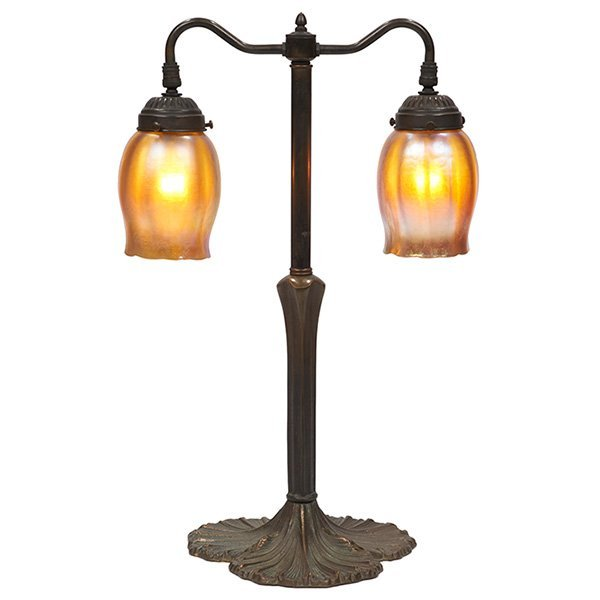 Non-Ferrous Metals / L.C. Tiffany two-light table lamp