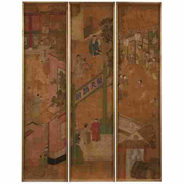 "Chinese School fragments, set of three each: 12.75""w x"