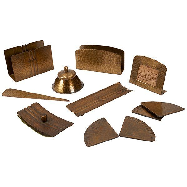 The Roycrofters assembled desk set, group of eight