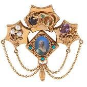 Victorian, Circa 1870, slide brooch, 14K yellow gold,
