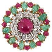 French, Circa 1950, gold, diamond, ruby and emerald