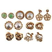 Jewelry Group, earrings and earclips, seven pairs, 14K