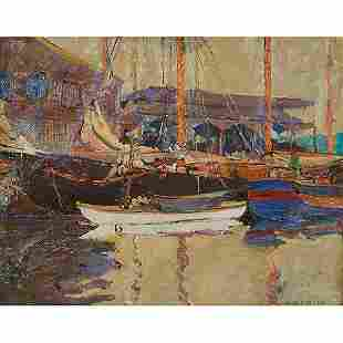 Jane Peterson, (American, 1876-1965), Boats in a