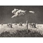 John Rogers Cox, (American, 1915-1990), Wheat Shocks,