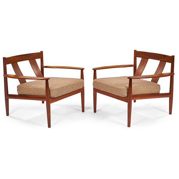 Grete Jalk For Cado Lounge Chairs, Pair, Teak