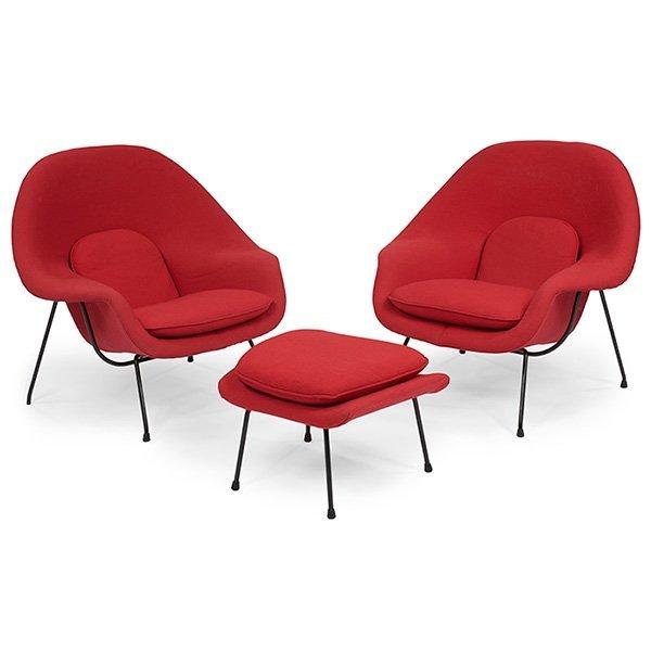 Eero Saarinen For Knoll Pair Womb Chairs W/ottoman