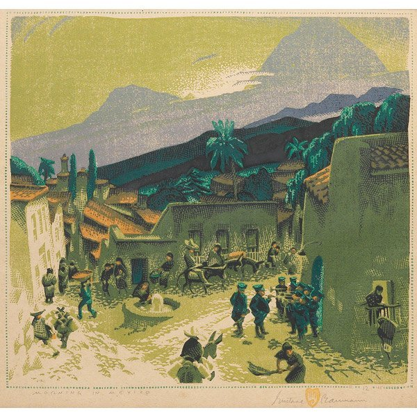 001: Gustave Baumann woodblock, Morning in Mexico