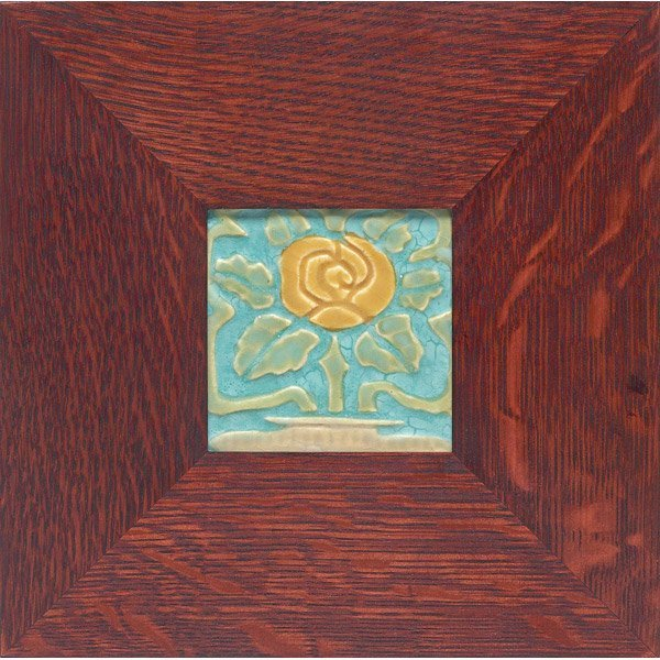 012: Good Rookwood Faience tile, stylized rose