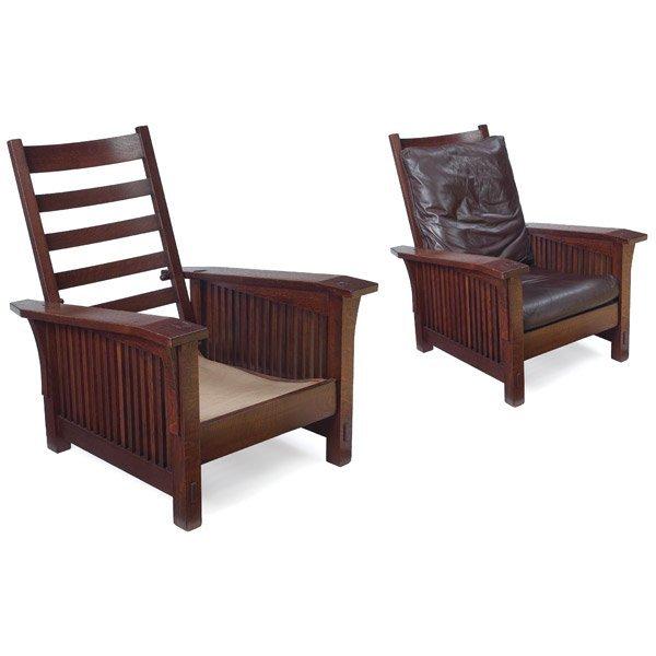 015: Gustav Stickley spindle Morris chair, #369, ca.190