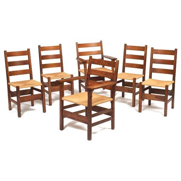 018: Gustav Stickley chairs, set of six, #306
