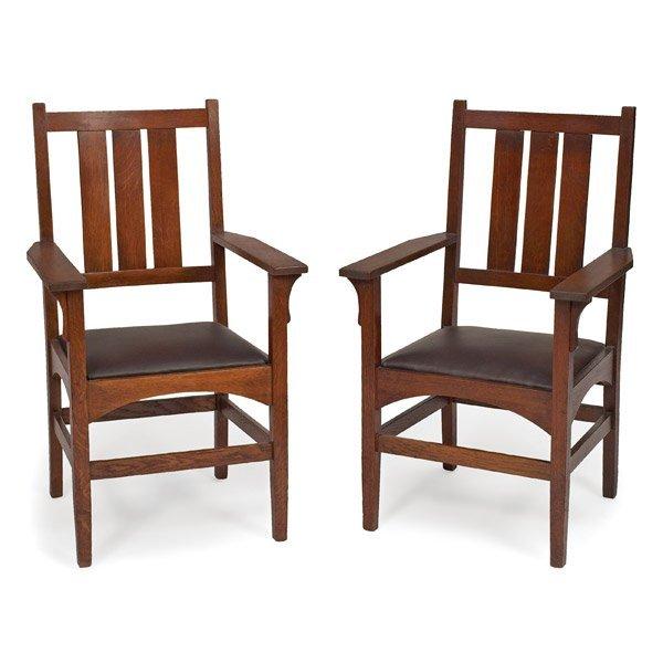 024: Gustav Stickley armchairs, pair, #340