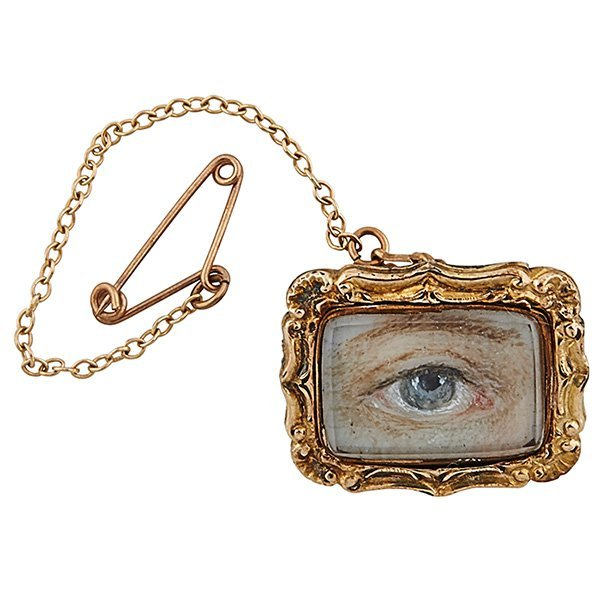 Lover's Eye 19th century brooch with chain fob