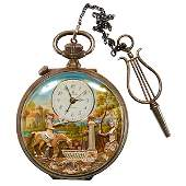 Charles Reuge musical automated open face pocket watch