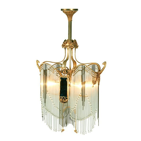 "After Hector Guimard (1847-1942) chandelier 22""w x 10""d"