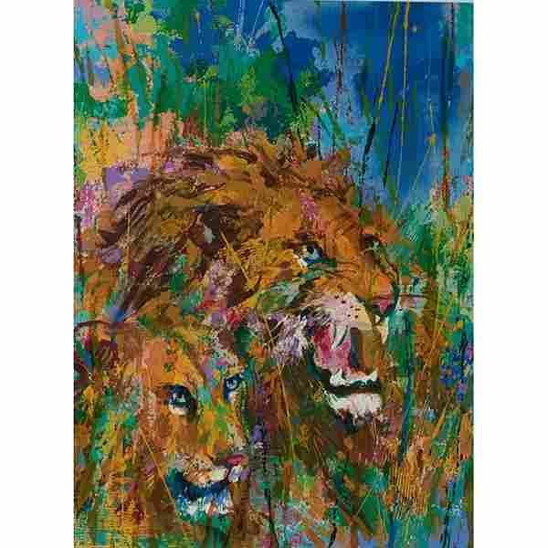 LeRoy Neiman, (American, 1921-2012), Lions, color